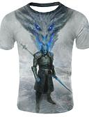 billige T-skjorter og singleter til herrer-Rund hals Store størrelser T-skjorte Herre - 3D / Dyr, Trykt mønster Regnbue