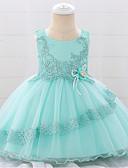 Χαμηλού Κόστους Βρεφικά φορέματα-Μωρό Κοριτσίστικα Ενεργό / Βασικό Μονόχρωμο / Φλοράλ Χάντρες / Φιόγκος / Κεντητό Αμάνικο Ως το Γόνατο Βαμβάκι Φόρεμα Ανθισμένο Ροζ
