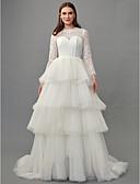 povoljno Vjenčanice-A-kroj Ovalni izrez Jako kratki šlep Čipka / Til Izrađene su mjere za vjenčanja s Čipka po LAN TING BRIDE®