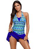 ราคาถูก หมวกสตรี-สำหรับผู้หญิง ชุดว่ายน้ำ Two Piece ชุดว่ายน้ำ เสื้อไม่มีแขน การว่ายน้ำ กีฬาทางน้ำ การทาสี ลายต่อ ฤดูร้อน / ยืด