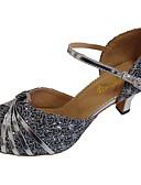 povoljno Ženske kaputi od kože i umjetne kože-Žene Plesne cipele PU Cipele za latino plesove Svjetlucave šljokice Štikle Kubanska potpetica Moguće personalizirati Srebro