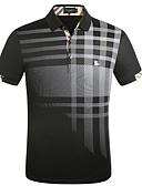 povoljno Muške polo majice-Polo Muškarci Karirani uzorak Kragna košulje Navy Plava