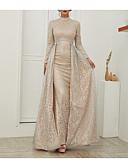 ราคาถูก Special Occasion Dresses-A-line คอตั้ง ชายกระโปรงลากพื้น เลื่อม แต่งตัว กับ เลื่อม โดย LAN TING Express