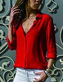 ราคาถูก เสื้อเชิ้ตสำหรับสุภาพสตรี-สำหรับผู้หญิง เชิร์ต คอเสื้อเชิ้ต สีพื้น สีน้ำเงินกรมท่า