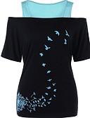 ราคาถูก เสื้อยืดสำหรับสุภาพสตรี-สำหรับผู้หญิง เสื้อเชิร์ต ลายบล็อคสี ทับทิม