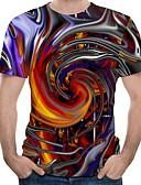 billige T-skjorter og singleter til herrer-Rund hals EU / USA størrelse T-skjorte Herre - 3D, Trykt mønster Regnbue