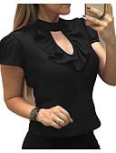 baratos Blusas Femininas-Mulheres Blusa Básico Frufru, Sólido Fúcsia