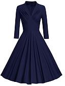 baratos Vestidos Vintage-Mulheres Vintage balanço Vestido - Franzido, Sólido Médio