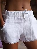 ราคาถูก กางเกงขาสั้น-สำหรับผู้หญิง พื้นฐาน เพรียวบาง กางเกงขาสั้น กางเกง - สีพื้น พู่ ผ้าลินิน / ผ้าฝ้ายผสม ขาว สีดำ M L XL
