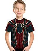 ราคาถูก เสื้อยืดและเสื้อกล้ามผู้ชาย-เด็ก Toddler เด็กผู้ชาย ซึ่งทำงานอยู่ พื้นฐาน กาแล็คซี่ ลายพิมพ์ ลายพิมพ์ แขนสั้น เสื้อยืด ไวน์