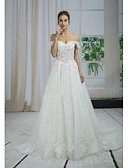 baratos Vestidos de Casamento-Linha A Ombro a Ombro Cauda Catedral Renda / Tule Alças Cintilante e Brilhante / Sensual Vestidos de casamento feitos à medida com Miçangas / Apliques / Renda 2020