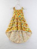 お買い得  赤ちゃん ドレス-子供 幼児 女の子 甘い かわいいスタイル 植物 フラワー リボン プリント ノースリーブ 膝丈 コットン ドレス イエロー