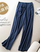 ราคาถูก กางเกงผู้หญิง-สำหรับผู้หญิง พื้นฐาน / Street Chic ขากว้าง / กางเกง Chinos กางเกง - สีพื้น ลายต่อ ผ้าลินิน สีดำ ผ้าขนสัตว์สีธรรมชาติ สีน้ำเงินกรมท่า XL XXL XXXL