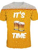 baratos Saída de Banho-Homens Camiseta Estampado, 3D / Gráfico / Letra Amarelo