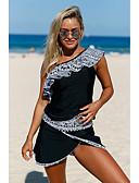 povoljno One-piece swimsuits-Žene Osnovni Crn Povez za glavu Gaće Tankini Kupaći kostimi - Color block Print XL XXL XXXL Crn