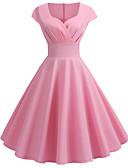 ราคาถูก ชุดเดรสวินเทจ-สำหรับผู้หญิง ไปเที่ยว วินเทจ 1950s สวิง แต่งตัว สีพื้น ยาวถึงเข่า คอวี
