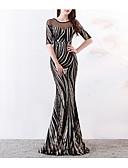 Χαμηλού Κόστους Βραδινά Φορέματα-Τρομπέτα / Γοργόνα Illusion Seckline Ουρά Με πούλιες Σέξι / Κομψό Επίσημο Βραδινό Φόρεμα 2020 με Χάντρες / Πούλιες