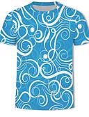 ราคาถูก เสื้อยืดและเสื้อกล้ามผู้ชาย-สำหรับผู้ชาย ขนาดพิเศษ เสื้อเชิร์ต พื้นฐาน / Street Chic ลายพิมพ์ คอกลม ลายดอกไม้ / ลายบล็อคสี / 3D สีน้ำเงินกรมท่า / แขนสั้น