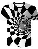 olcso Férfi pólók és atléták-Kerek Férfi Póló - Mértani / 3D Fehér / Rövid ujjú