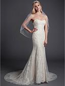baratos Vestidos de Casamento-Sereia Sem Alças Cauda Corte Renda Vestidos de casamento feitos à medida com Renda de LAN TING BRIDE®