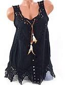 povoljno Muške košulje-Veći konfekcijski brojevi Majica s rukavima Žene - Elegantno Kauzalni Pamuk Jednobojni V izrez Slim, Izrezati Crn