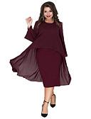 זול שמלות במידות גדולות-מידי שכבות מרובות טלאים, אחיד - שמלה נדן אלגנטית בגדי ריקוד נשים