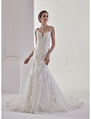 cheap Wedding Dresses-Mermaid / Trumpet V Neck Court Train Lace / Tulle Made-To-Measure Wedding Dresses with Beading / Appliques / Lace by ANGELAG