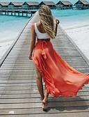 Χαμηλού Κόστους Γυναικείες Φούστες-Γυναικεία Φούστα Αργίες Μακρύ Φούστες - Μονόχρωμο Με Βολάν Πορτοκαλί Βαθυγάλαζο Κίτρινο L XL XXL