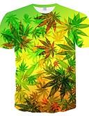 ราคาถูก เสื้อยืดและเสื้อกล้ามผู้ชาย-สำหรับผู้ชาย ขนาดพิเศษ เสื้อเชิร์ต ลายพิมพ์ คอกลม เพรียวบาง ลายดอกไม้ / ลายบล็อคสี / 3D ใบไม้สีเขียวที่มีสามแฉก