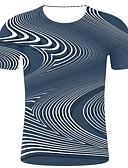 billige T-skjorter og singleter til herrer-T-skjorte Herre - Stripet / Ensfarget, Trykt mønster Gatemote / overdrevet Blå