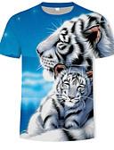 baratos Camisetas & Regatas Masculinas-Homens Camiseta Básico Estampado, Estampa Colorida / 3D / Animal Decote Redondo Azul