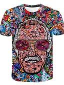 ราคาถูก เสื้อยืดและเสื้อกล้ามผู้ชาย-สำหรับผู้ชาย ขนาดพิเศษ เสื้อเชิร์ต ที่พูดเกินจริง ลายพิมพ์ คอกลม 3D / Portrait สายรุ้ง XXXXL / แขนสั้น