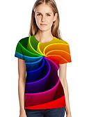 olcso Póló-Bő Női Extra méret Póló - Mértani / 3D / Grafika, Nyomtatott Rubin