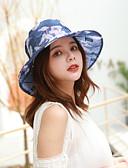ราคาถูก หมวกสตรี-สำหรับผู้หญิง ลายดอกไม้ ตารางไขว้ ซึ่งทำงานอยู่ พื้นฐาน สไตล์น่ารัก-หมวกบัคเก็ต ฤดูใบไม้ผลิ ฤดูร้อน สีเทา สีม่วง สีเหลือง