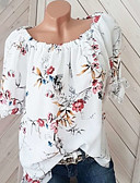 ราคาถูก เสื้อยืดสำหรับสุภาพสตรี-สำหรับผู้หญิง ขนาดพิเศษ เชิร์ต พื้นฐาน ลายพิมพ์ ไหล่ตก หลวม ลายดอกไม้ ขาว