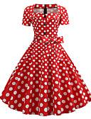 ราคาถูก ชุดเดรสวินเทจ-สำหรับผู้หญิง วินเทจ 1950s รูปตัว เอ แต่งตัว - ลายพิมพ์, ลายจุด ยาวถึงเข่า คอสี่เหลี่ยม