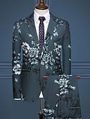 Χαμηλού Κόστους Αντρικά Μπλέιζερ & Κοστούμια-Ανδρικά Στολές, Φλοράλ Κλασικό Πέτο Ρεϊγιόν / Πολυεστέρας Λευκό / Μαύρο / Πράσινο Χακί