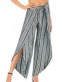 ราคาถูก เสื้อผู้หญิง-สำหรับผู้หญิง พื้นฐาน กางเกงวอร์ม กางเกง - ลายแถบ เอวสูง ใบไม้สีเขียวที่มีสามแฉก สีเหลือง สีฟ้า XL XXL XXXL