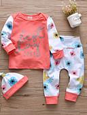 povoljno Kompletići za bebe-Dijete Djevojčice Ležerne prilike / Aktivan Print Print Dugih rukava Regularna Pamuk Komplet odjeće žuta / Dijete koje je tek prohodalo