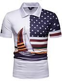 ราคาถูก เสื้อโปโลสำหรับผู้ชาย-สำหรับผู้ชาย Polo ฝ้าย คอเสื้อเชิ้ต เพรียวบาง ลายแถบ ขาว