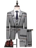 povoljno Odijela-Muškarci odijela, Color block Klasični rever Poliester Navy Plava / Sive boje