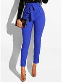 povoljno Ženske hlače-Žene Osnovni Slim Chinos Hlače - Jednobojni Navy Plava L XL XXL