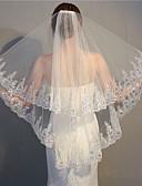ราคาถูก ม่านสำหรับงานแต่งงาน-Two-tier รูปแบบคลาสสิก / งานผ้าขอบลายลูกไม้ ผ้าคลุมหน้าชุดแต่งงาน ผ้าคลุมศรีษะสำหรับชุดแต่งงาน กับ เข็มกลัด / ปักเลื่อม 33.46 นิ้ว (85ซม.) ลูกไม้ / Tulle