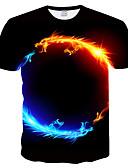 baratos Camisetas & Regatas Masculinas-Homens Tamanhos Grandes Camiseta Japonesa / Curta Estampado, 3D / Animal Decote Redondo Delgado Preto