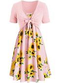 billige Todelt dress til damer-Dame Tynn Singleter Kjoler Blomstret