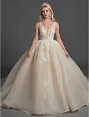 Χαμηλού Κόστους Βραδινά Φορέματα-Βραδινή τουαλέτα Λαιμόκοψη V Μακρύ Δαντέλα / Οργάντζα Αμάνικο Διακοπές Φορέματα γάμου φτιαγμένα στο μέτρο με Χάντρες / Δαντέλα 2020