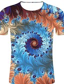 זול מכנסיים ושורטים לגברים-פסים / 3D / גראפי צווארון עגול רוק / מוּגזָם מידות גדולות כותנה, טישרט - בגדי ריקוד גברים דפוס קשת