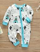 זול אוברולים טריים לתינוקות לבנים-מקשה אחת One-pieces שרוול ארוך אחיד / דפוס בנים תִינוֹק