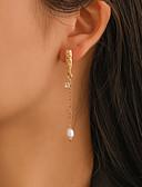 ราคาถูก กระโปรงผู้หญิง-สำหรับผู้หญิง Drop Earrings ต่างหูห้อย ที่ไม่ตรงกัน ง่าย คลาสสิก วินเทจ เกี่ยวกับยุโรป ไข่มุก ต่างหู เครื่องประดับ สีทอง สำหรับ ปาร์ตี้ ทุกวัน Street ทำงาน 1 คู่