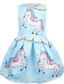 baratos Vestidos para Meninas-Infantil Para Meninas Básico Unicorn Desenho Animado Sem Manga Médio Vestido Rosa